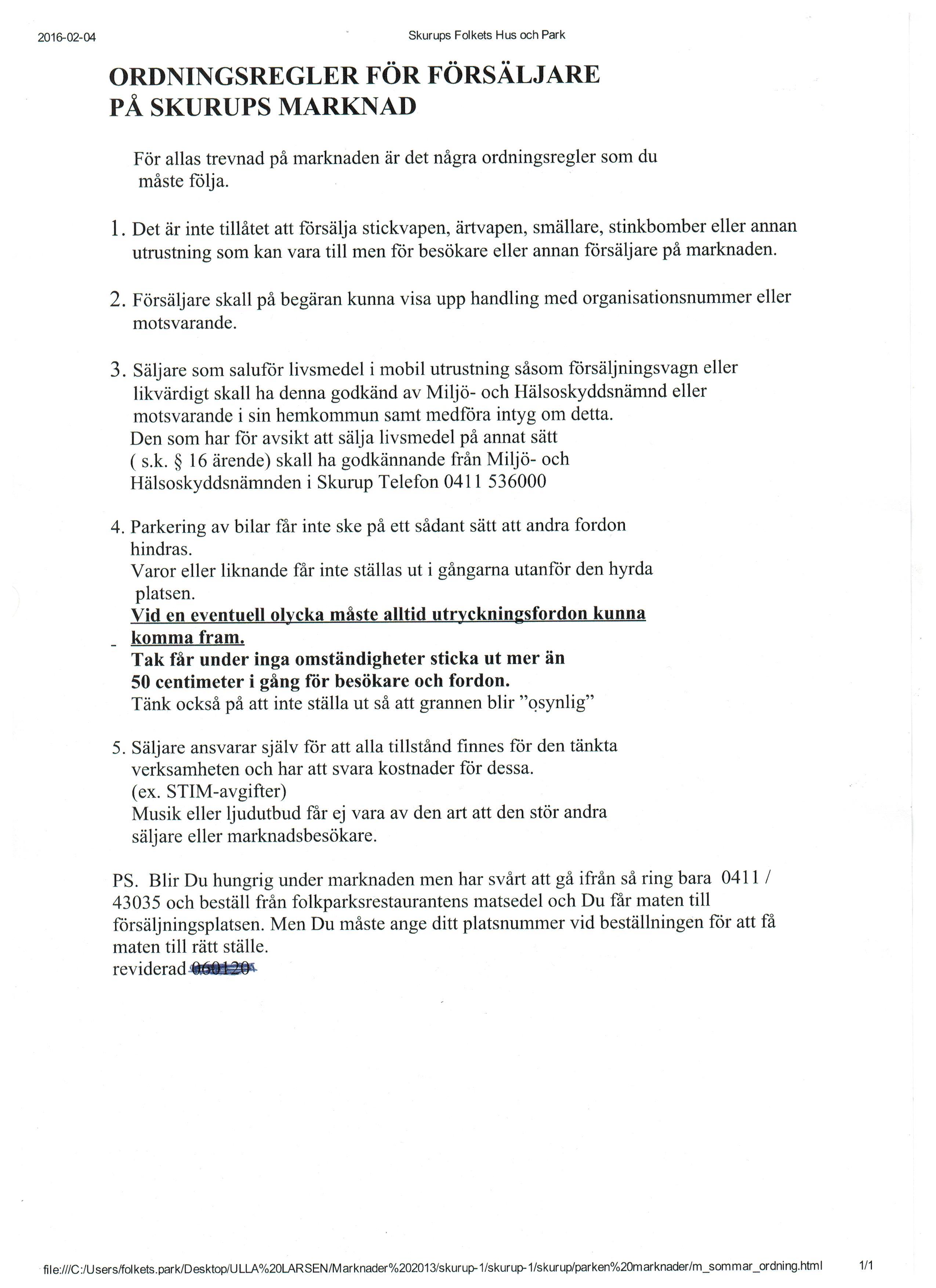 ordningsregler marknad 001